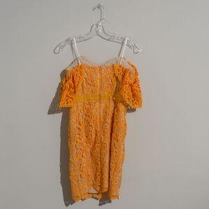 Adelyn Rae Dresses - Orange Off The Shoulder Lace Tube Dress